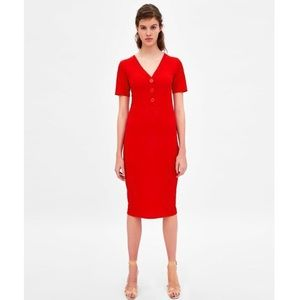 🔥Zara🔥 Red Ribbed Fitted Button Long Dress
